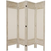 Oriental Furniture 67'' Tall Solid Frame Fabric 4 Panel Room Divider; White