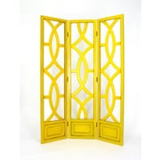 Wayborn 76'' x 54'' Charleston 3 Panel Room Divider; Distressed Yellow