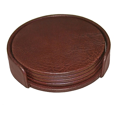 Dacasso 1000 Series Classic Leather Round Coasters w/ Holder in Mocha (Set of 4)