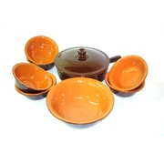 Piral Italian Terracotta Multi-Use Pan w/ Lid and 6-Piece Bowl Set; No