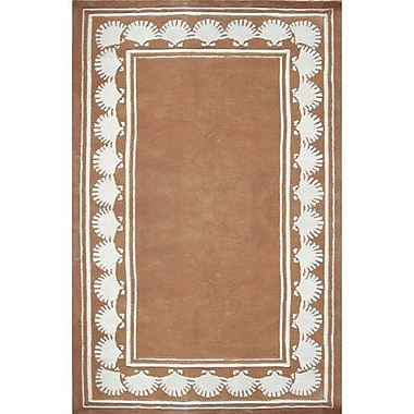 American Home Rug Co. Beach Rug Peach Shell Border Novelty Rug; Round 8'