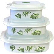 Corelle Bamboo Leaf Microwave Cookware 3 Container Food Storage Set