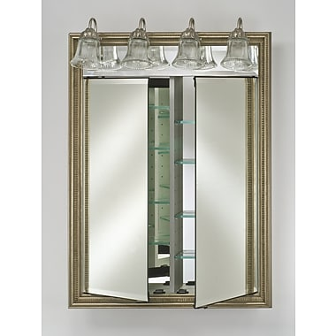 Afina Signature 24'' x 34'' Recessed Medicine Cabinet w/ Lighting; Meridian Silver with Gold Caps