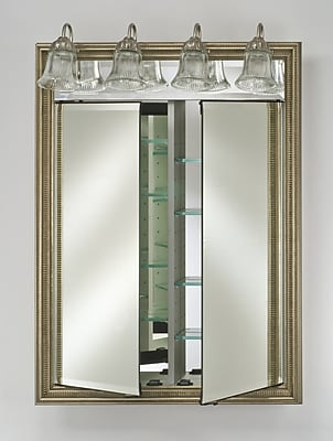 Afina Signature 31'' x 40'' Recessed Medicine Cabinet w/ Lighting; Aristocrat Antique Silver