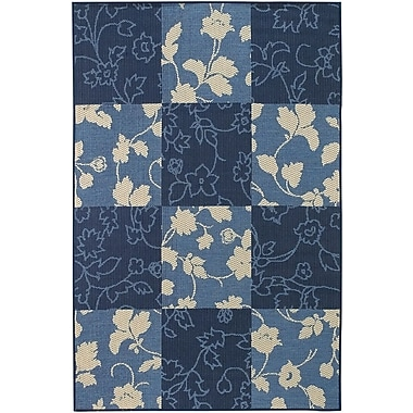 Chandra Plaza Blue Floral Area Rug; 5'2'' x 7'5''