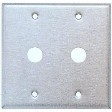 Morris Products 0.41'' Two Gang Cable Metal Wall Plates in Stainless