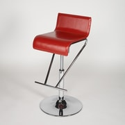 Chintaly Adjustable Height Swivel Bar Stool; Red