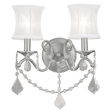 Livex Lighting Newcastle 2 Light Wall Sconce; Brushed Nickel