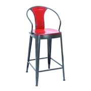 Woodland Imports Ella 43'' Bar Stool; Fire Engine Red