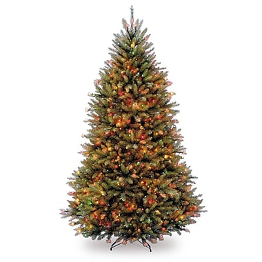 National Tree Co. Dunhill Fir 6.5' Green Artificial Christmas Tree w/ Multi-Colored Lights