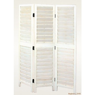 Wayborn 72'' x 54'' Shutter 3 Panel Room Divider; White