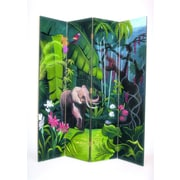 Wayborn 72'' x 64'' Elephant in Jungle 4 Panel Room Divider