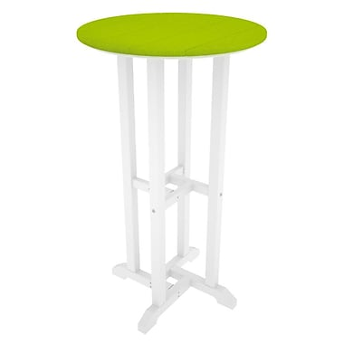 POLYWOOD Contempo Bar Table; White & Lime