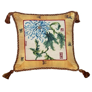 123 Creations Floral Chrysanthemum Needlepoint Wool Throw Pillow
