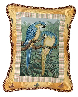 123 Creations Tropial Parrot Petit Point w/ Trimmed Wool Lumbar Pillow