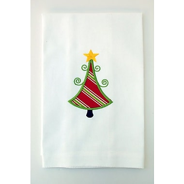 Samantha Grace Designs Egyptian Quality Cotton Huck Holiday Applique Christmas Tree Hand Towel