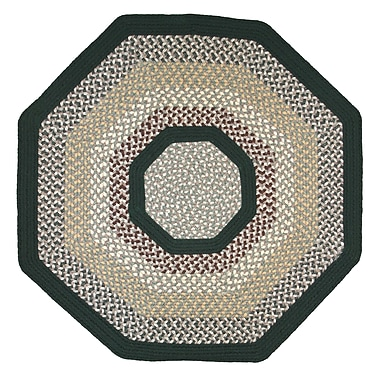 Thorndike Mills Green Mountain Balsam Fir Green Stripes Area Rug; Octagon 10'
