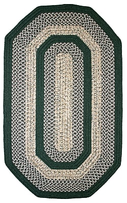 Thorndike Mills Town Crier Green Indoor/Outdoor Rug; Elongated Octagon 4' x 6'