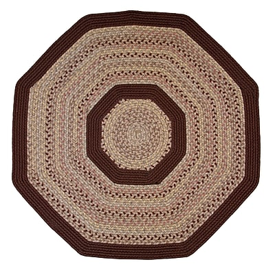 Thorndike Mills Pioneer Valley II Buckskin w/ Burgundy Solids Octagon Outdoor Rug; Octagon 4'