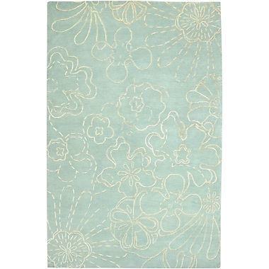 Rizzy Rugs Avant Garde Hand-Knotted Wool Skyblue Floral Area Rug; 8' x 10'