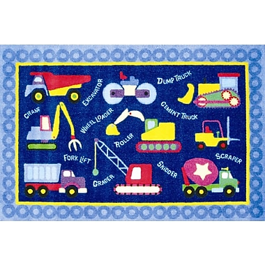 Fun Rugs Olive Kids Under Construction Truck Blue Area Rug; 3'3'' x 4'10''