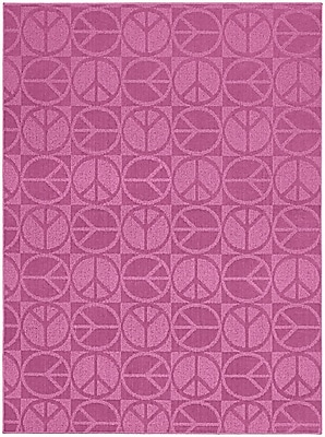Garland Rug Pink Large Peace Indoor/Outdoor Area Rug; 7'6'' x 9'6''