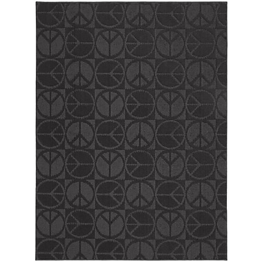 Garland Rug Black Large Peace Indoor/Outdoor Area Rug; 7'6'' x 9'6''