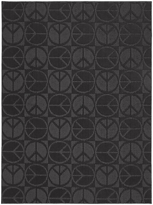 Garland Rug Black Large Peace Indoor/Outdoor Area Rug; 7'6'' x 9'6''
