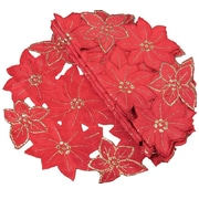 Xia Home Fashions Festive Poinsettia Embroidered Cutwork Holiday Placemat (Set of 4)