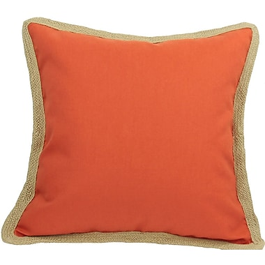 Xia Home Fashions Classic Jute Trimmed Solid Throw Pillow; Pumpkin