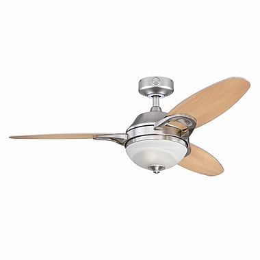 Westinghouse Lighting 46'' Arcadia 3-Blade Fan w/ Remote; Brushed Nickel with Beach/Maple Blades