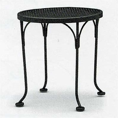 Woodard Briarwood Round Occasional Wrought Iron Side Table; Hammered White