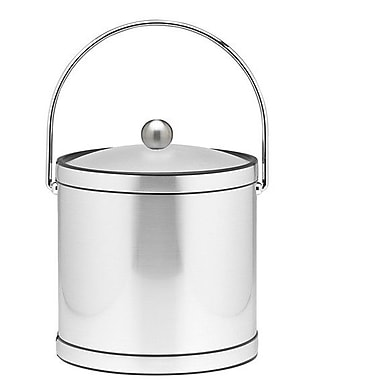Kraftware Mylar 3 Qt Ice Bucket w/ Lucite Cover in Brushed Chrome