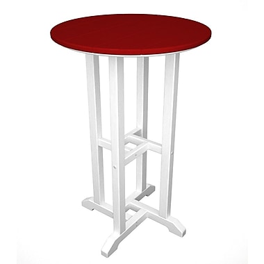 POLYWOOD Contempo Bar Table; White & Sunset Red