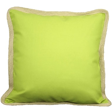 Xia Home Fashions Classic Jute Trimmed Solid Throw Pillow; Green Apple