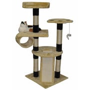 Go Pet Club 52'' Faux Fur Wood Scratching Post Cat Trees and Condos