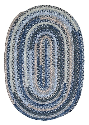 Colonial Mills Print Party Ovals Blue Area Rug; Oval Runner 2' x 6'