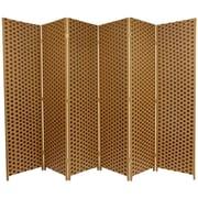 Oriental Furniture 70.75'' x 105'' Woven Fiber 6 Panel Room Divider; Brown / Tan