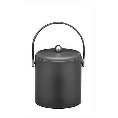 Kraftware Soho 3 Qt Ice Bucket w/ Chrome Lid in Black Leatherette