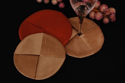 Pacific Table Linens Luscious Silk Wine Glass Coaster (Set of 2); Light Gold