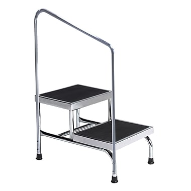 Brewer 2-Step Steel Step Stool w/ 600 lb. Load Capacity; With Handrail
