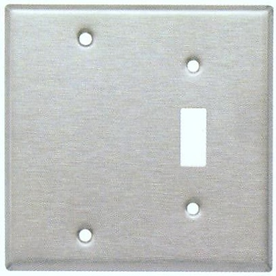Morris Products Two Gang / Toggle and Blank Metal Wall Plates in Stainless