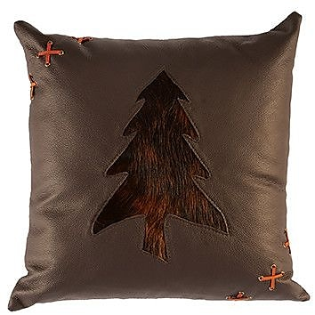 Wooded River Leather Throw Pillow; Suede