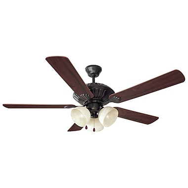 Design House 52'' Trevie 5-Blade Fan; Oil Rubbed Bronze with Mahogany/Oak Blade