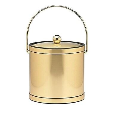 Kraftware Mylar 3 Qt Ice Bucket w/ Metal Cover in Brushed Brass