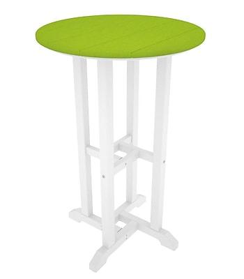 POLYWOOD Contempo Bar Table; White & Lime