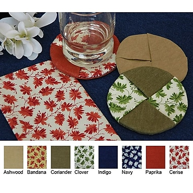Pacific Table Linens Denim Wine Glass Coaster w/ Cercie (Set of 2); Paprika