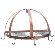 Rogar Gourmet Half Dome Wall Mounted Pot Rack w/ Grid; Hammered Copper/Black