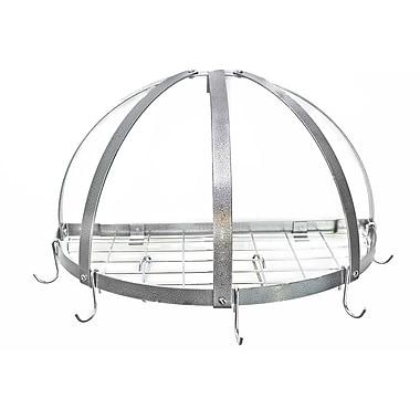 Rogar Gourmet Half Dome Wall Mounted Pot Rack w/ Grid; Hammered Steel/Chrome