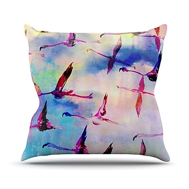 KESS InHouse Flamingo in Flight Throw Pillow; 26'' H x 26'' W